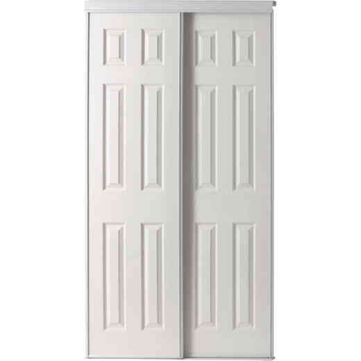 Colonial Elegance 72 In. W x 80-1/2 In. H Six-Panel White Woodgrain Bypass Door