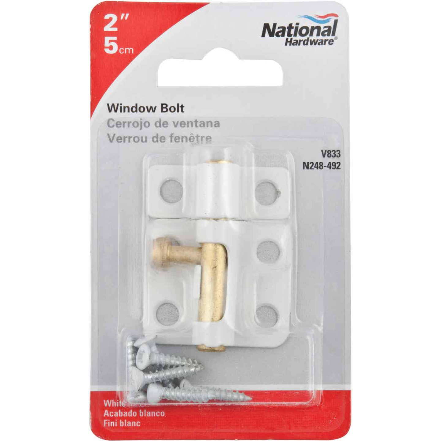 National 2 In. White Cellar Window Barrel Bolt Image 2