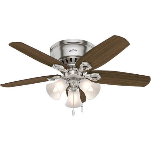 Hunter Builder Low Profile 42 In. Brushed Nickel Ceiling Fan with Light Kit