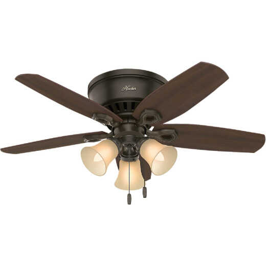 Hunter Builder Low Profile 42 In. New Bronze Ceiling Fan with Light Kit