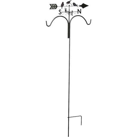 Panacea 78 In. Brown Steel Perching Birds Weathervane Double Shepherd Hook